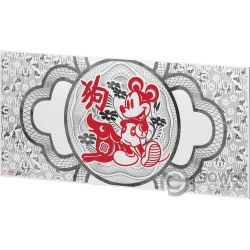 YEAR OF THE DOG Anno Cane Mickey Mouse Disney Lunar Foil Collection Foil Banconota Argento 20 Cents Niue 2018
