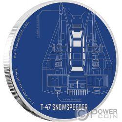 T 47 SNOWSPEEDER Star Wars Ships 1 Oz Moneta Argento 2$ Niue 2017