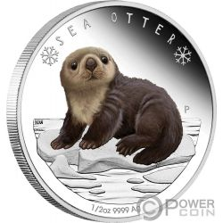 SEA OTTER Polar Babies Silver Coin 50 Cents Tuvalu 2017