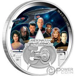 CREW Equipaje Star Trek Next Generation 30 Aniversario 2 Oz Moneda Plata 2$ Tuvalu 2017