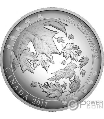 MAPLE LEAVES IN MOTION Convex 5 Oz Silver Coin 50$ Canada 2017