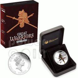 SAMURAI Japanese Great Warrior Moneda Plata 1$ Tuvalu 2010
