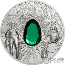 DRESDEN GREEN DIAMOND Diamante Verde Dresda Most Famous Diamonds 2 Oz Moneta Argento 10$ Cook Islands 2017