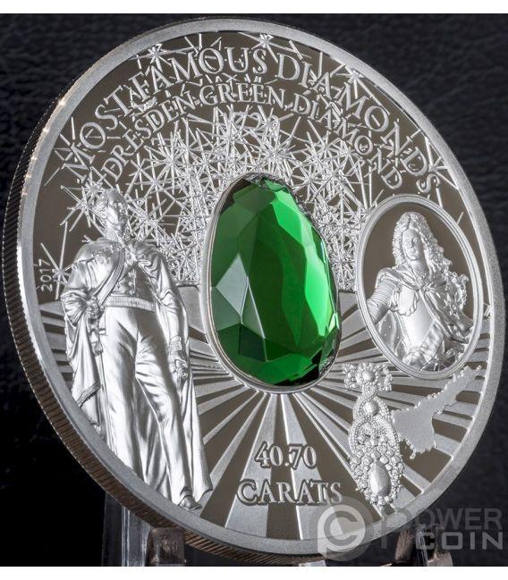 DRESDEN GREEN DIAMOND Most Famous Diamonds 2 Oz Silver Coin 10$ Cook Islands 2017