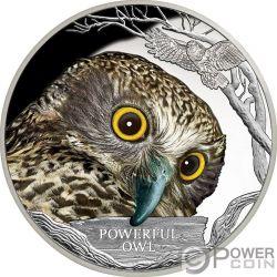 POWERFUL OWL Civetta Reale Australiana Endangered Extinct 1 Oz Moneta Argento 1$ Tuvalu 2018