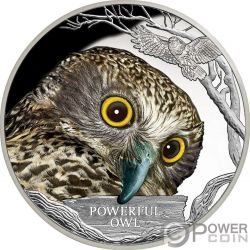 POWERFUL OWL Ninox Robusto Endangered Extinct 1 Oz Moneda Plata 1$ Tuvalu 2018