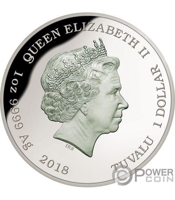 POWERFUL OWL Endangered Extinct 1 Oz Silver Coin 1$ Tuvalu 2018