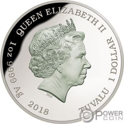 POWERFUL OWL Königliche Eule Endangered Extinct 1 Oz Silber Münze 1$ Tuvalu 2018