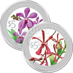 ORCHIDEE Set 2 Monete Argento Proof 5$ Singapore 2010