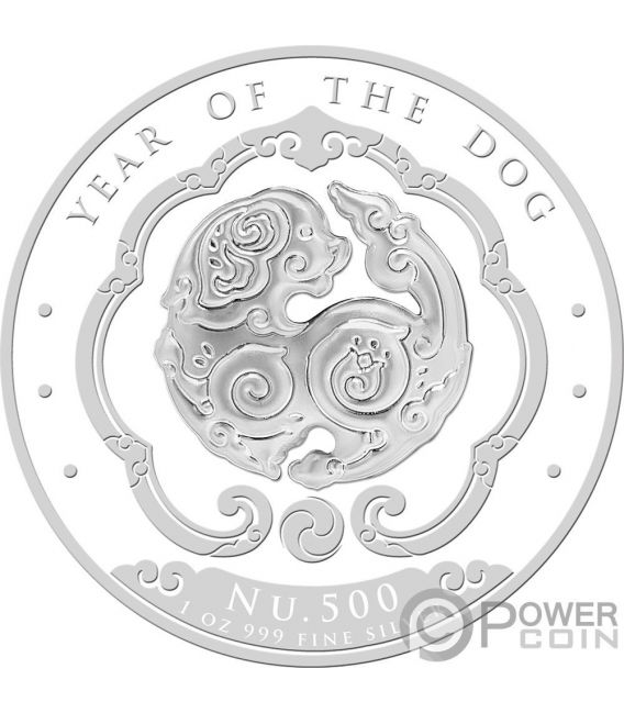 YEAR OF THE DOG Anno Cane Happiest Lunar 1 Oz Moneta Argento 500 Nu Bhutan 2018