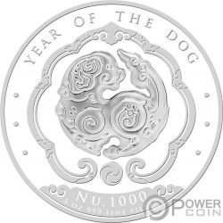 YEAR OF THE DOG Anno Cane Happiest Lunar Coin 5 Oz Moneta Argento 1000 Nu Bhutan 2018