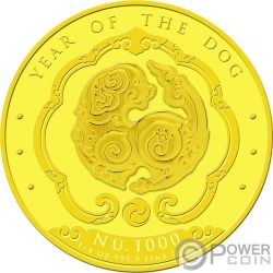 YEAR OF THE DOG Anno Cane Happiest Lunar Moneta Oro 1000 Nu Bhutan 2018