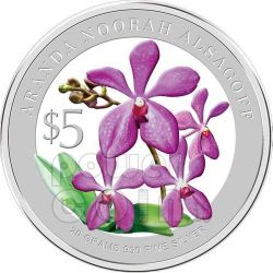 ORCHIDEE Set 2 Monete Argento Proof 5$ Singapore 2010