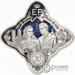 QUEEN ELIZABETH II AND PRINCE PHILIP 70th Wedding Anniversary 1 Oz Серебро Монета 1$ Токелау 2017