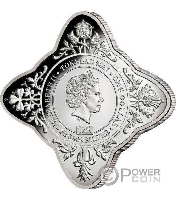 QUEEN ELIZABETH II AND PRINCE PHILIP Isabel Felipe 70 Aniversario de Boda 1 Oz Moneda Plata 1$ Tokelau 2017