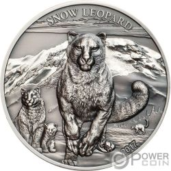 SNOW LEOPARD Leopardo Nieves High Relief Animals 1 Oz Moneda Plata 500 Togrog Mongolia 2017