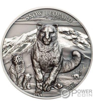 SNOW LEOPARD High Relief Animals 1 Oz Silver Coin 500 Togrog Mongolia 2017