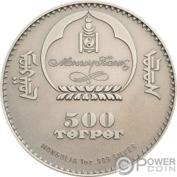 SNOW LEOPARD High Relief Animals 1 Oz Серебро Монета 500 Тугриков Монголия 2017
