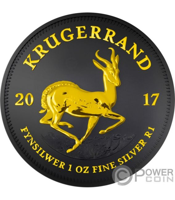 KRUGERRAND Black Ruthenium 1 Oz Silver Coin 1 Rand South Africa 2017