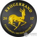 KRUGERRAND Black Rutenio 1 Oz Moneta Argento 1 Rand South Africa 2017