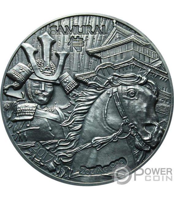 SAMURAI Legendary Warriors 2 Oz Silver Coin 1500 Francs Burkina Faso 2017