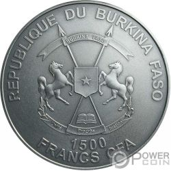 SAMURAI Legendary Warriors 2 Oz Silber Münze 1500 Francs Burkina Faso 2017