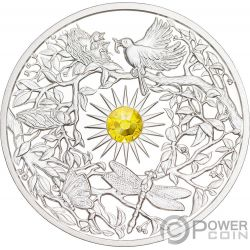 SUMMER Verano Crystal Four Seasons 2 Oz Moneda Plata 5$ Niue 2017