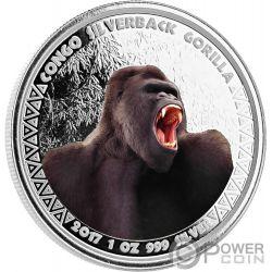 SILVERBACK GORILLA Colore 1 Oz Moneta Argento 5000 Franchi Congo 2017