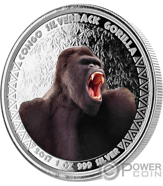 SILVERBACK GORILLA Color 1 Oz Silver Coin 5000 Francs Congo 2017