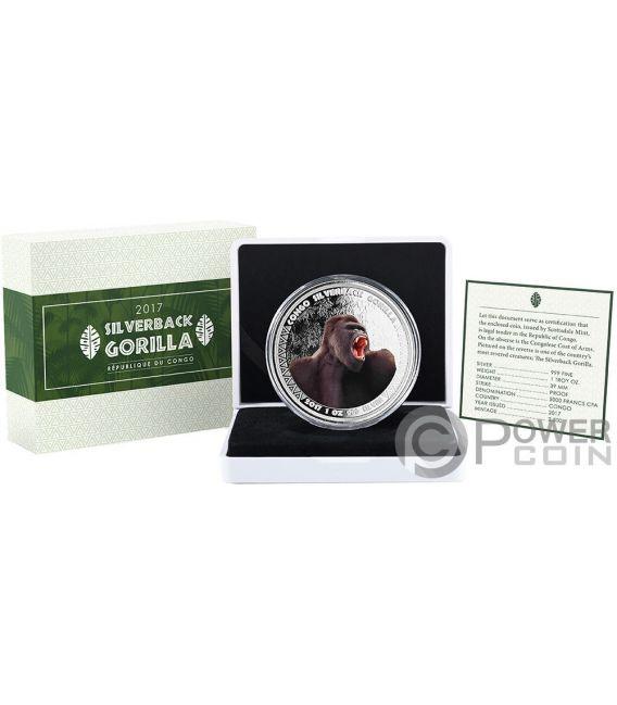 SILVERBACK GORILLA Gorila Color 1 Oz Moneda Plata 5000 Francos Congo 2017