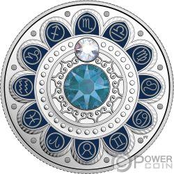 SCORPIO Zodiac Swarovski Crystal Silver Coin 3$ Canada 2017