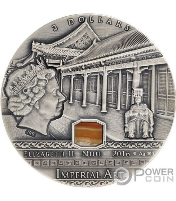 CHINA Imperial Art Agate 2 Oz Silver Coin 2$ Niue 2016