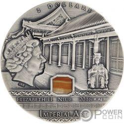 CHINA Imperial Art Agate 2 Oz Silber Münze 2$ Niue 2016