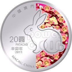 CONIGLIO Rabbit Anno Lunare Zodiaco Cinese Moneta Argento 20 Patacas Macao 2011