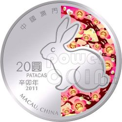 RABBIT Lunar Year 1 Oz Silver Proof Coin 20 Patacas Macau 2011