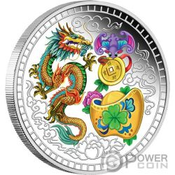 BLESSING Dragon Fu 1 Oz Silver Coin 1$ Tuvalu 2018