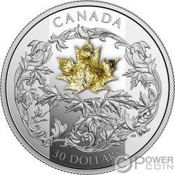 GOLDEN MAPLE LEAF Foglia Acero Dorata 2 Oz Moneta Argento 30$ Canada 2018