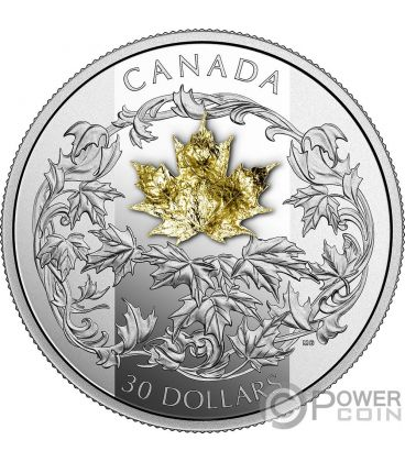 Golden Maple Leaf 2 Oz Silver Coin 30 Canada 2018 Power