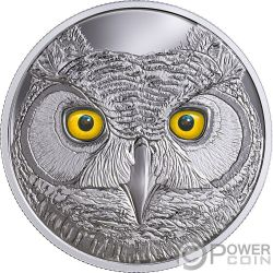 GREAT HORNED OWL Búho Americano In The Eyes Of The Glow In The Dark Moneda Plata 15$ Canada 2017