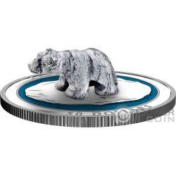 POLAR BEAR Soapstone Sculpture 5 Oz Silver Coin 50$ Canada 2018