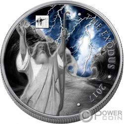 MOSES Moises Exodo Bible Tales Nano Chip 1 Oz Moneda Plata 1000 Francos Burkina Faso 2017