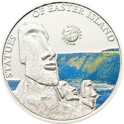 EASTER ISLAND World Of Wonders Moneda Plata 5$ Palau 2010