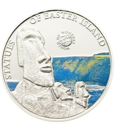 EASTER ISLAND World Of Wonders Silver Coin 5$ Palau 2010