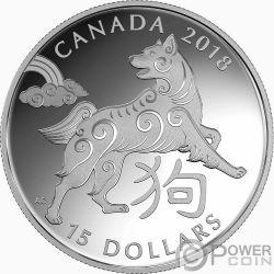 YEAR OF THE DOG Anno Cane Chinese Zodiac 1 Oz Moneta Argento 15$ Canada 2018