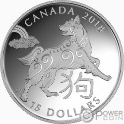 YEAR OF THE DOG Perro Chinese Zodiac 1 Oz Moneda Plata 15$ Canada 2018
