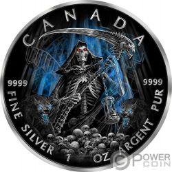 GRIM REAPER Morte Maple Leaf Armageddon 1 Oz Moneta Argento 5$ Canada 2016