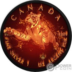 TIGER Burning Wildlife 1 Oz Silver Coin 5$ Canada 2017