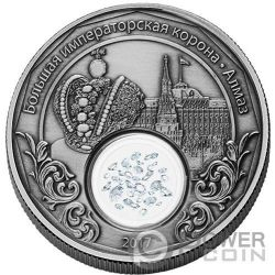 IMPERIAL CROWN OF RUSSIA Corona Treasures of Mother 1 Oz Moneda Plata 1500 Francos Cameroon 2017
