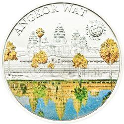 ANGKOR WAT TEMPLE World Of Wonders Silver Coin 5$ Palau 2010