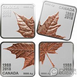 MAPLE LEAF QUARTER Foglia Acero Quarto 30 Anni Set 4 Monete Argento 3$ Canada 2018